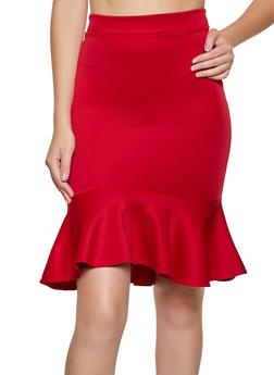 Scuba Knit Ruffled Pencil Skirt - 3062062415141