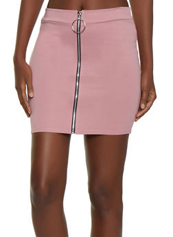 Zip Front Ponte Mini Skirt - 3062062415180