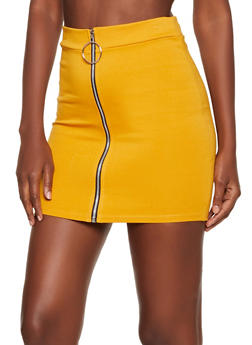 Zip Front Ponte Mini Skirt - 3062062415180