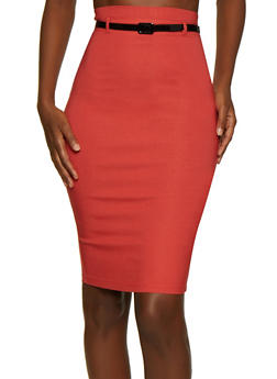 Belted Midi Stretch Pencil Skirt - 3062062707172