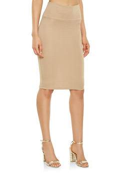 Ponte Knit Pencil Skirt - 3062074011521