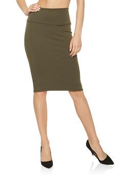 Ponte Knit Pencil Skirt - 3062074011521