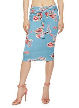 Floral Tie Waist Midi Pencil Skirt - 3062074011543
