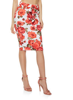 Floral Tie Waist Midi Pencil Skirt - 3062074011543