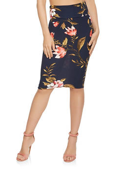 Floral Midi Pencil Skirt - 3062074011550