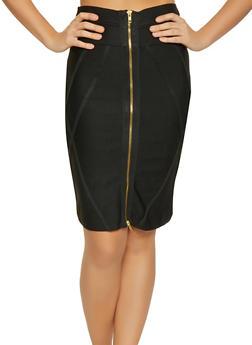 Zip Front Bandage Pencil Skirt - 3062074011556