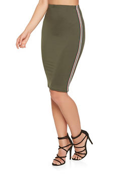 Striped Ribbon Trim Midi Pencil Skirt - 3062074011557