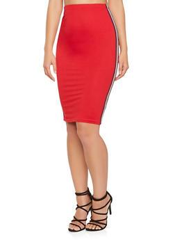 Striped Ribbon Trim Midi Pencil Skirt - 3062074011557