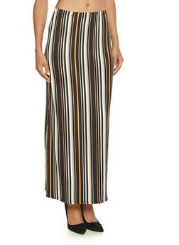 Striped Soft Knit Maxi Skirt - 3062074011560