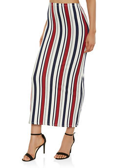 Striped Soft Knit Maxi Skirt - 3062074011560