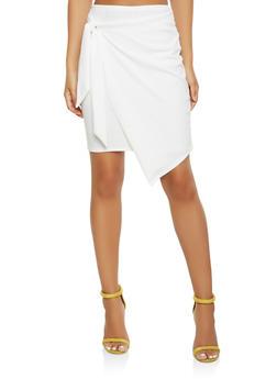 Faux Wrap Crepe Knit Skirt - 3062074011561