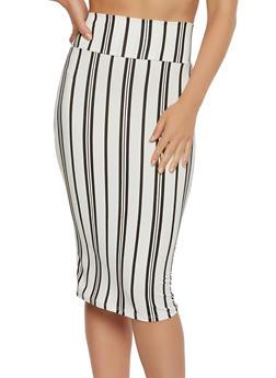 Striped Soft Knit Pencil Skirt - 3062074011563