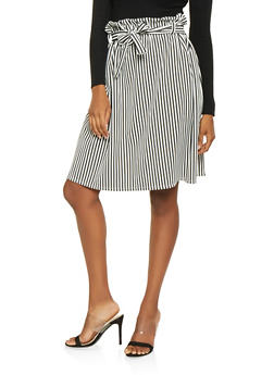 Striped Paper Bag Waist Skater Skirt - 3062074011565