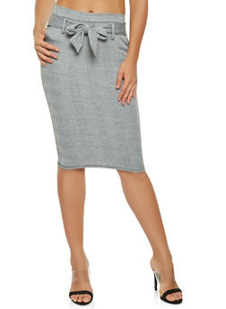 Plaid Tie Front Pencil Skirt - 3062074011566