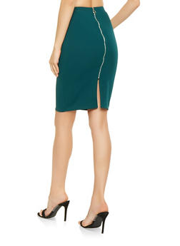 Textured Knit Zip Back Pencil Skirt - 3062074011571