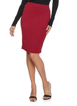 Textured Knit Zip Back Pencil Skirt - 3062074011571