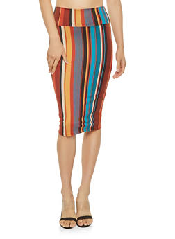 Striped Soft Knit Pencil Skirt - 3062074011572