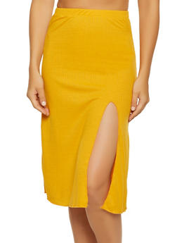 Rib Knit Side Slit Skirt - 3062074011653