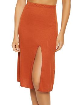 Rib Knit Side Slit Skirt - 3062074011653