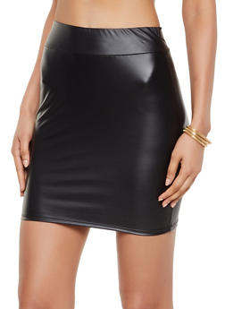 Faux Leather Mini Pencil Skirt - 3062074011657