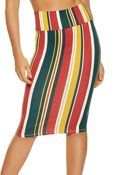 Soft Knit Striped Pencil Skirt - 3062074013651
