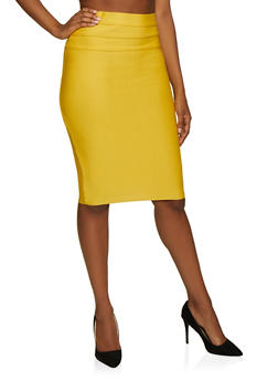 Pintuck Bandage Pencil Skirt - 3062074016162