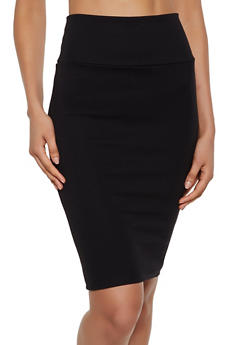 Ponte Back Slit Pencil Skirt - 3062074016165