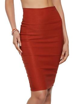 Ponte Back Slit Pencil Skirt - 3062074016165
