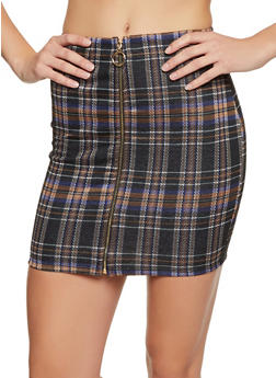 Zip Front Plaid Skirt - 3062074016167