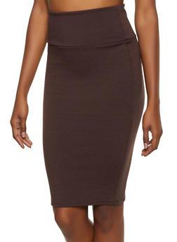 High Waisted Ponte Pencil Skirt - 3062074016646