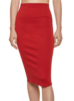 High Waisted Ponte Pencil Skirt - 3062074016646
