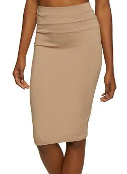 Solid Midi Ponte Pencil Skirt - 3062074016647