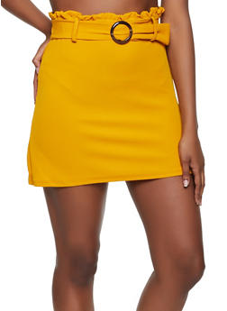 Textured Knit Paper Bag Waist Mini Skirt - 3062075172004