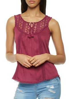 Crochet Lace Yoke Tank Top - 3064015991100