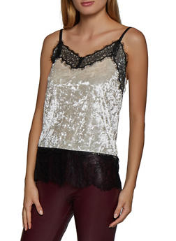 Crushed Velvet Lace Trim Cami - 3064015991882