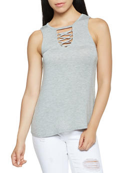 Lace Up Detail Tank Top - 3064015996000