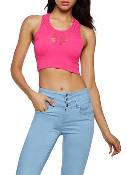 Seamless Laser Cut Crop Top - 3064038340009