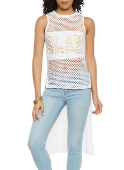 Slay Graphic High Low Fishnet Top - 3064038342289