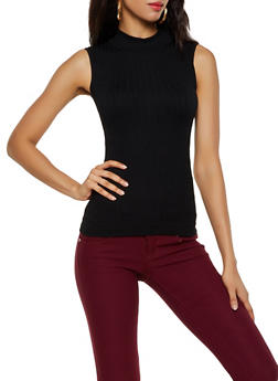 Sleeveless Cable Knit Mock Neck Top - 3064038344007