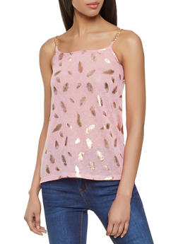 Foiled Feather Print Chain Strap Tank Top - 3064038349383