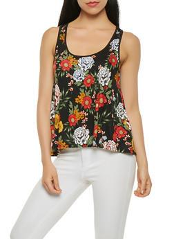 Split Back Floral Tank Top - 3064054261322