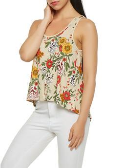 Floral Split Back Tank Top - 3064054261323