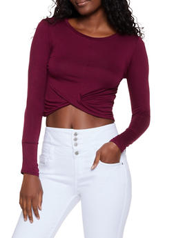 Long Sleeve Twist Front Top - 3064054261646