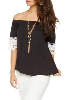 Crochet Trim Off the Shoulder Top with Necklace - 3064058750479