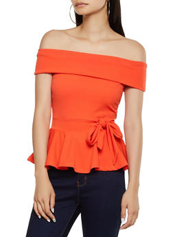 Fold Over Off the Shoulder Peplum Top - 3064058750987