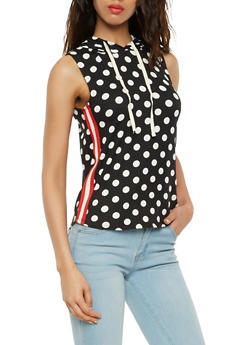 Polka Dot Hooded Tank Top - BLACK/WHITE - 3064058751096