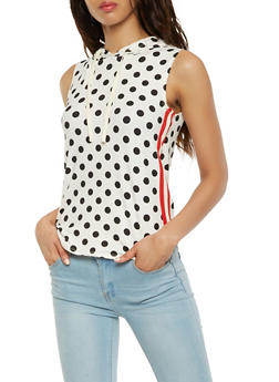 Polka Dot Hooded Tank Top - WHT-BLK - 3064058751096
