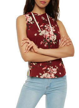 Floral Hooded Tank Top - 3064058751302