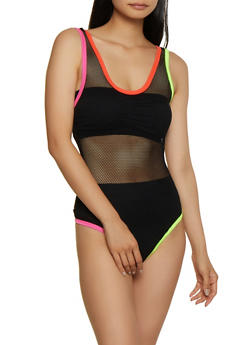 Contrast Trim Fishnet Thong Bodysuit - 3064058751794
