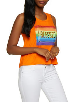 Blessed 3D Foil Graphic Tank Top - 3064058751841